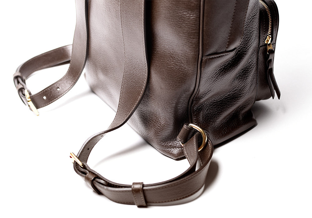 Leather Strap Bottom of Leather Zipper Backpack Chocolate