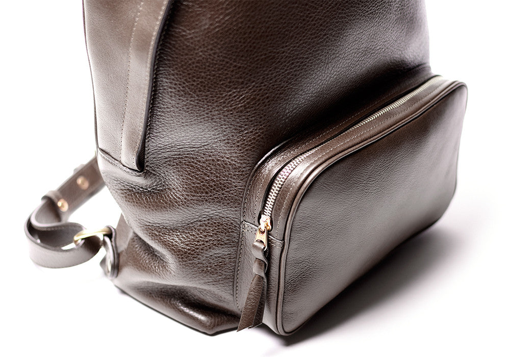 Front Leather Pocket of Leather Zipper Backpack Chocolate