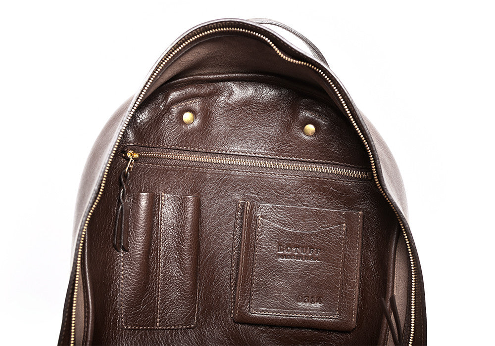 Inner Leather Pocket of Leather Zipper Backpack Chocolate