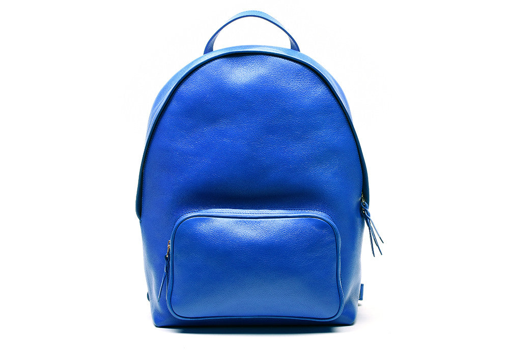 Front Leather View of Leather Zipper Backpack Electric Blue