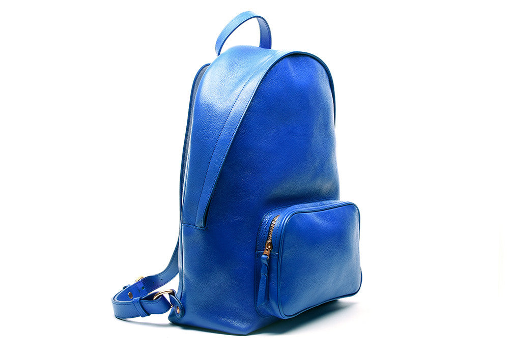 Side View of Leather Zipper Backpack Electric Blue
