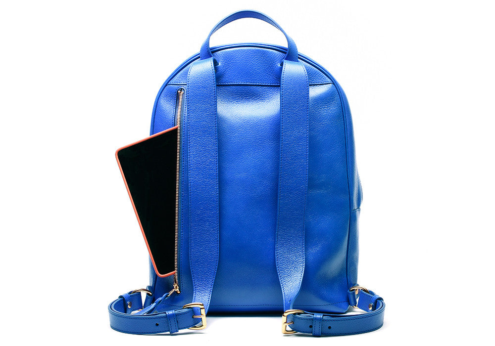 Back Leather Straps of Leather Zipper Backpack Electric Blue