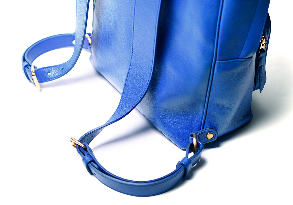 Close Up Leather Straps of Leather Zipper Backpack Electric Blue