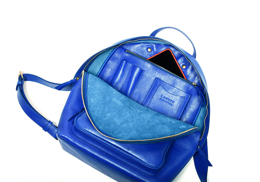 Inner Leather View of Leather Zipper Backpack Electric Blue