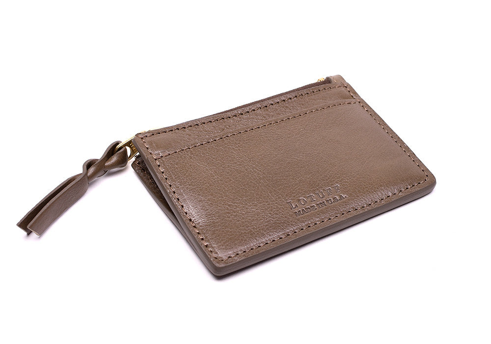 Side View of Zipper Credit Card Wallet Clay