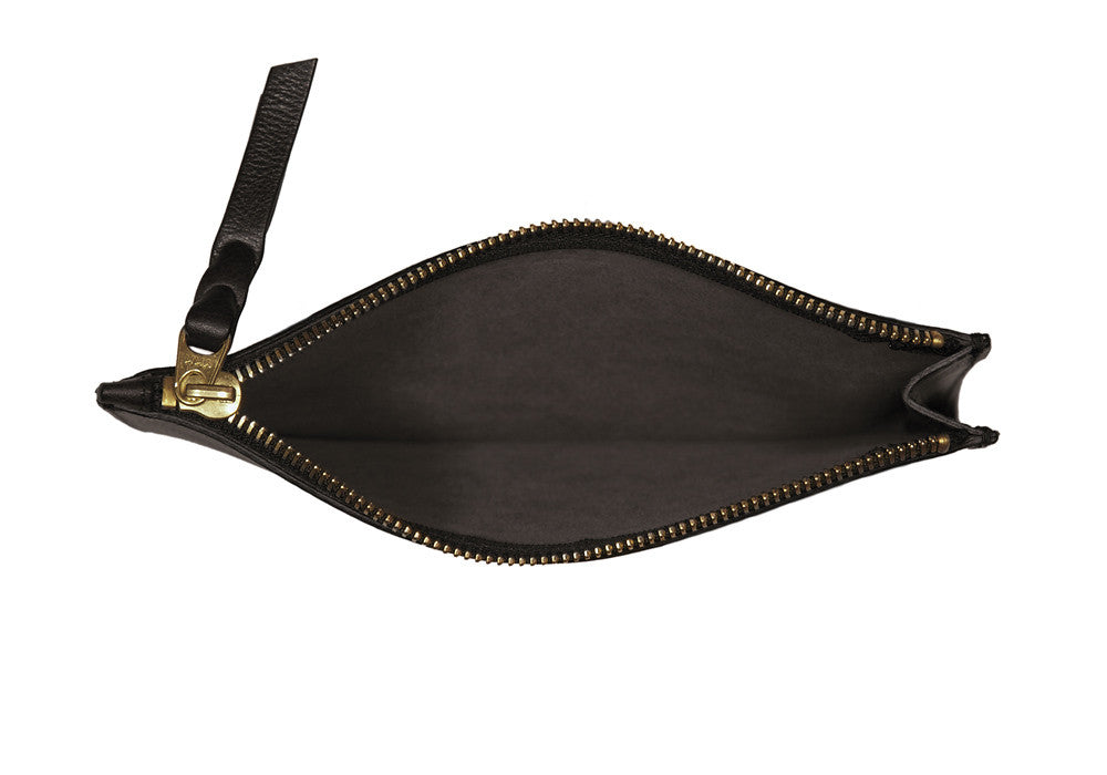 Inner Leather View of Zipper Pouch #7 Chocolate