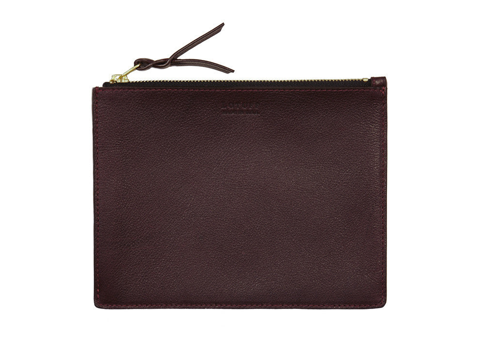 Front Leather View of Zipper Pouch #7 Cordovan