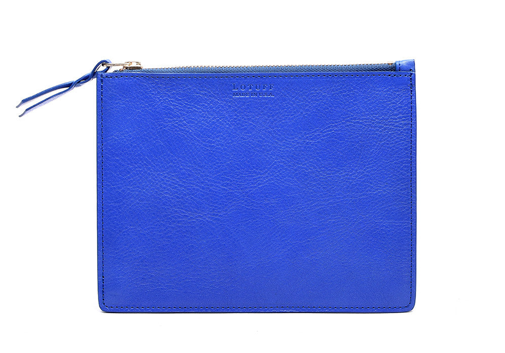 Front Leather View of Zipper Pouch #7 Electric Blue