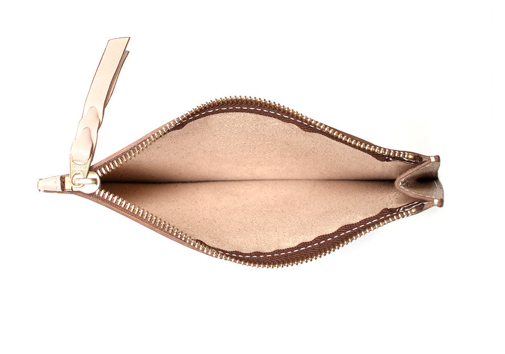 Inner Leather View of Zipper Pouch #7 Natural
