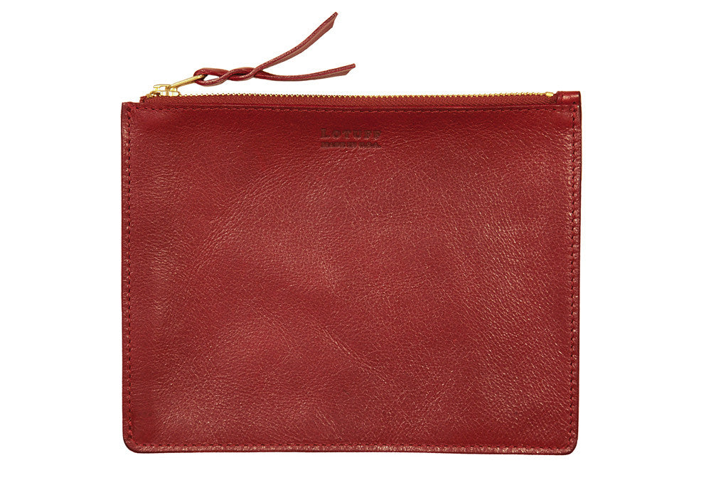 Front Leather View of Zipper Pouch #7 Red