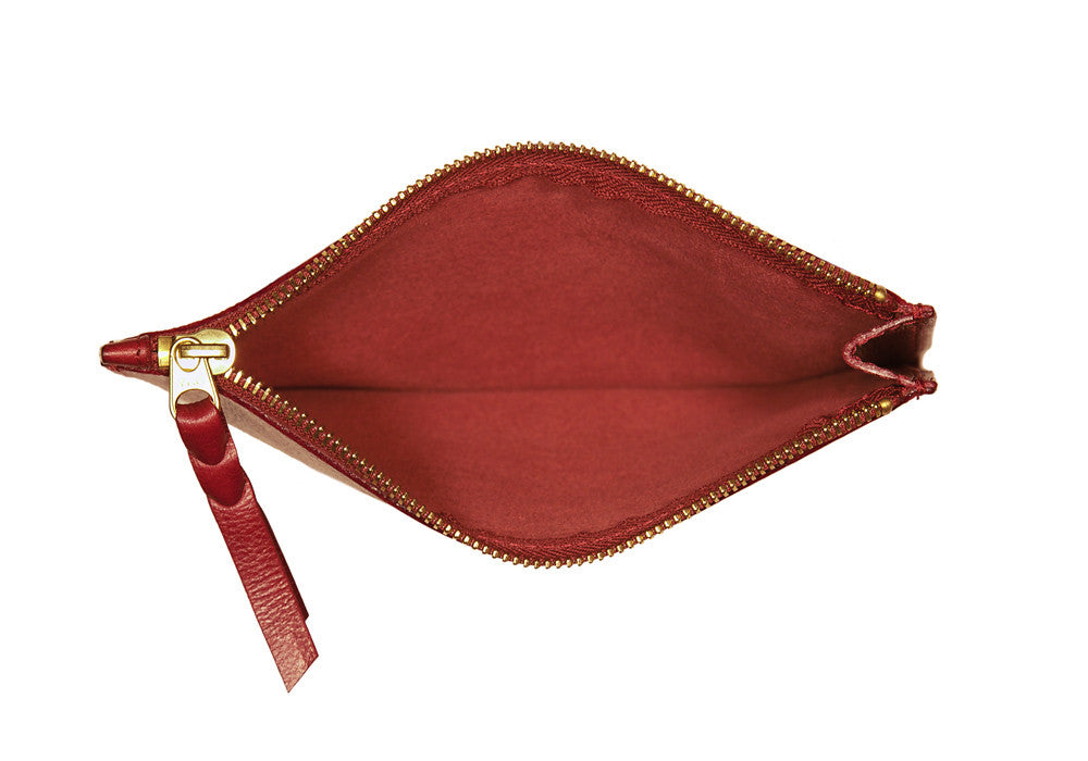 Inner Leather View of Zipper Pouch #7 Red