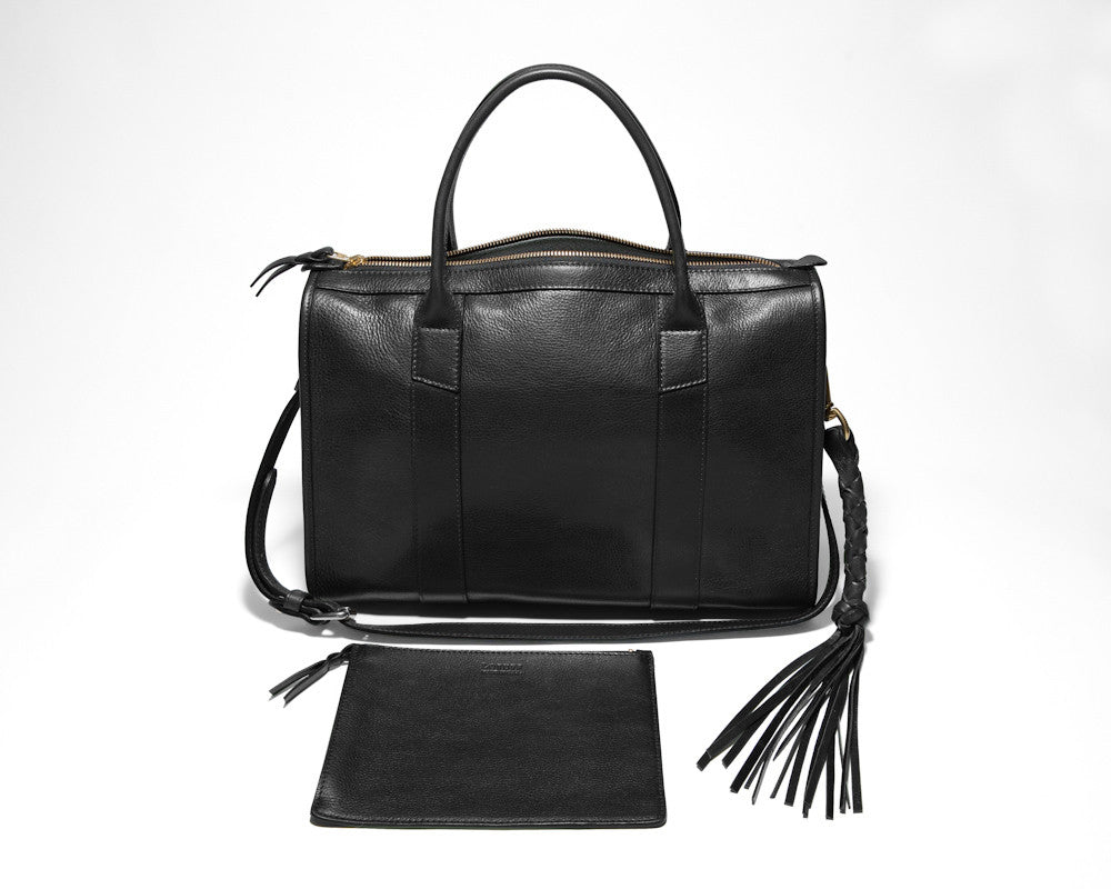 Front Leather View of Zipper Satchel #9 Black