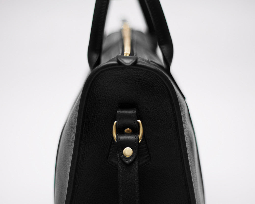Side Leather View of Zipper Satchel #9 Black
