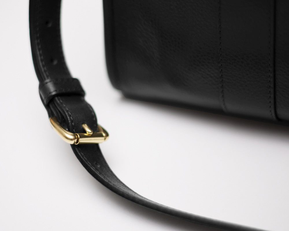 Leather Buckle and Strap of Zipper Satchel #9 Black