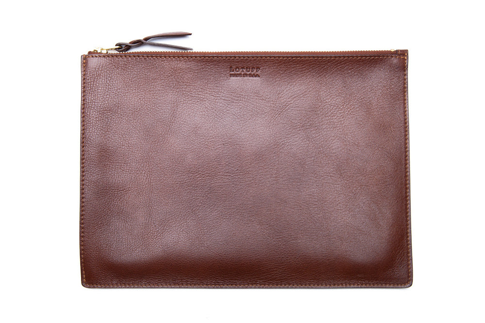Zipper iPad Pouch Chestnut|Front Leather View