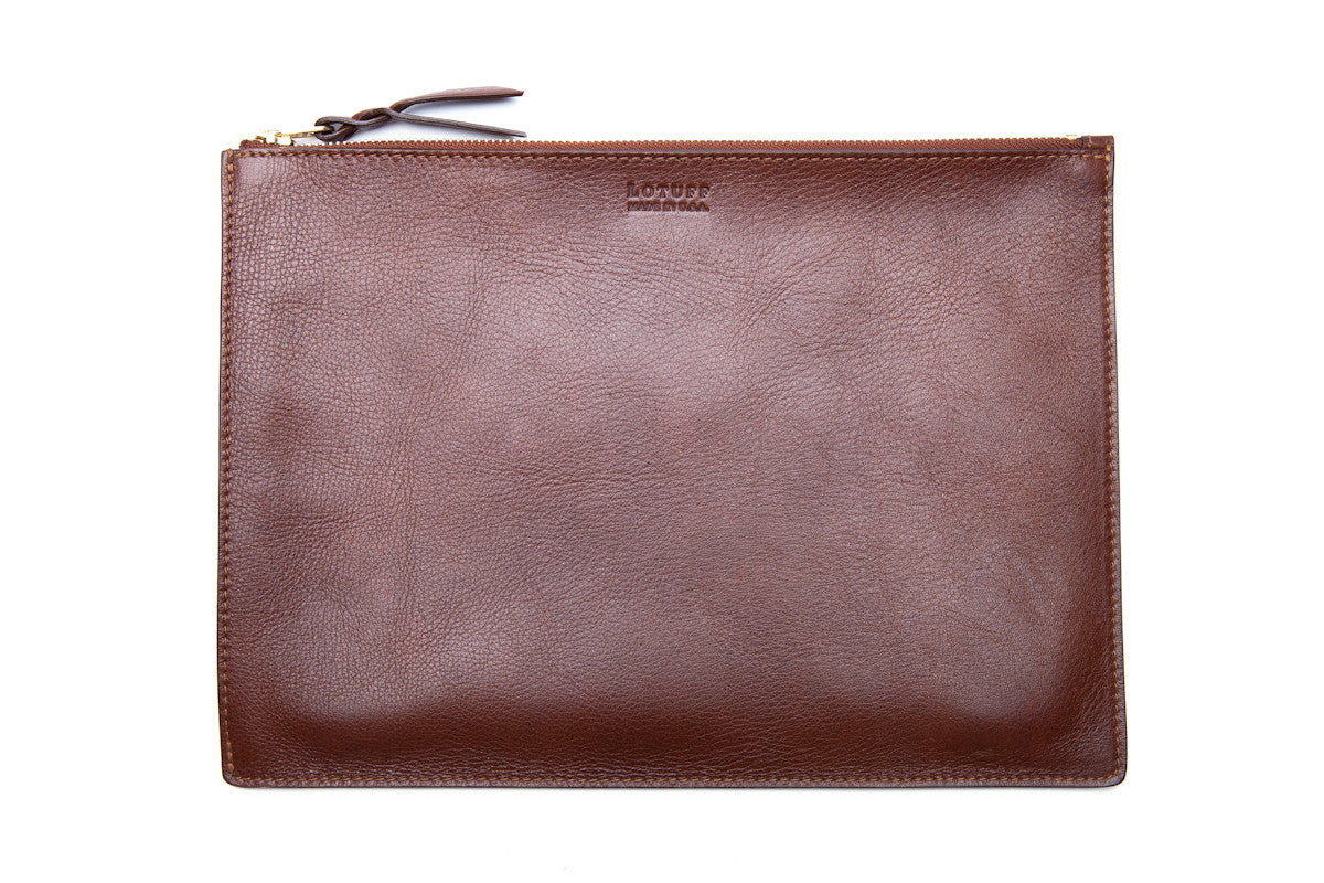 Zipper PC Pouch Chestnut|Front Leather View