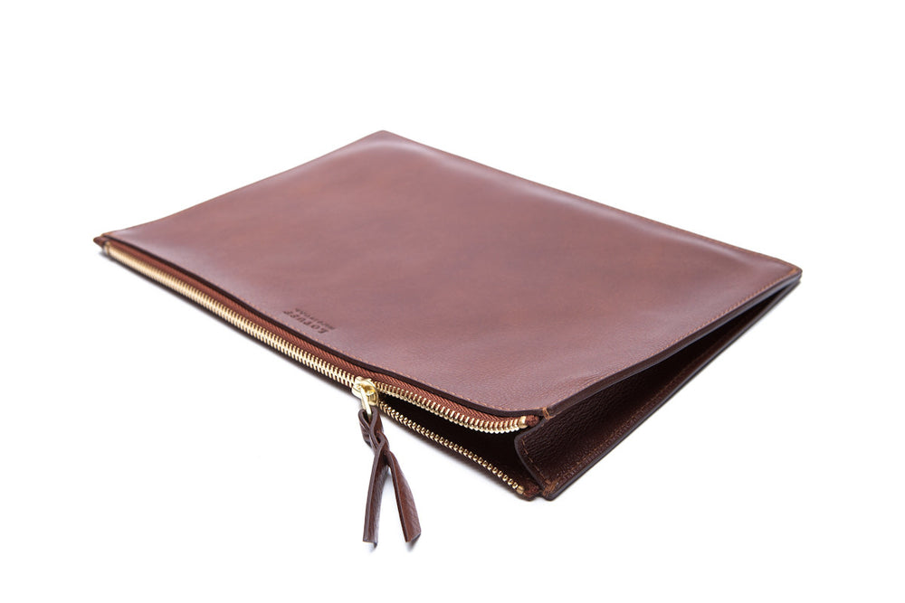 Front Leather View of Zipper iPad Pouch Chestnut