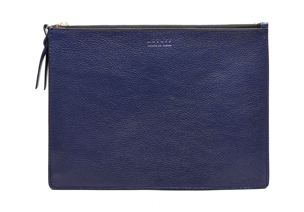 Front Leather View of Zipper iPad Pouch Indigo