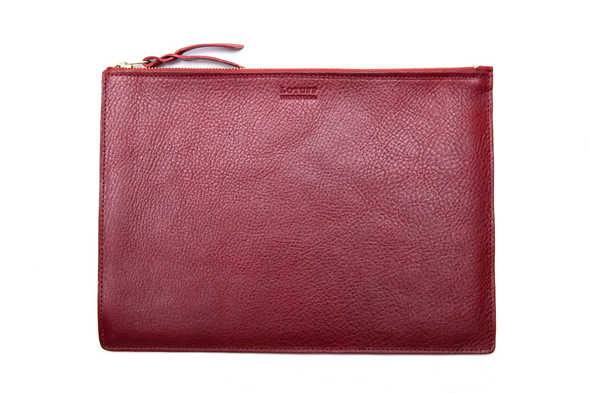Front Leather View of Zipper PC Pouch Red