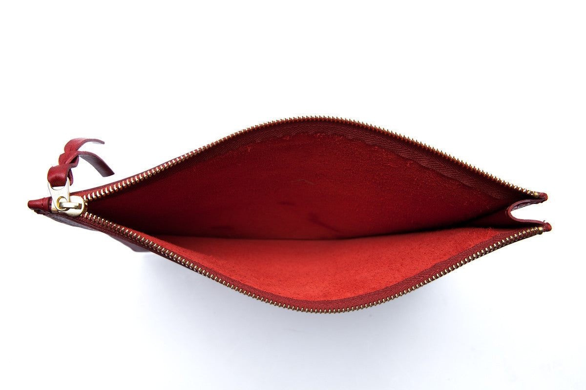 Inner Leather View of Zipper PC Pouch Red