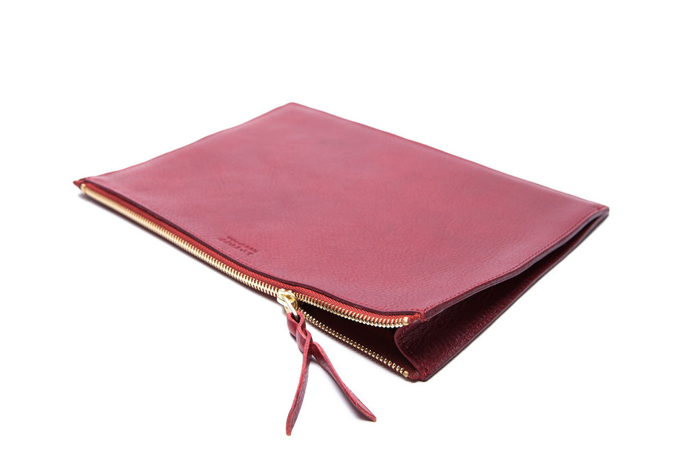 Front Leather View of Zipper iPad Pouch Red