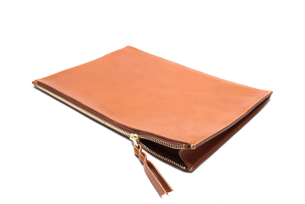 Front Leather View of Zipper Macbook Pouch Tan
