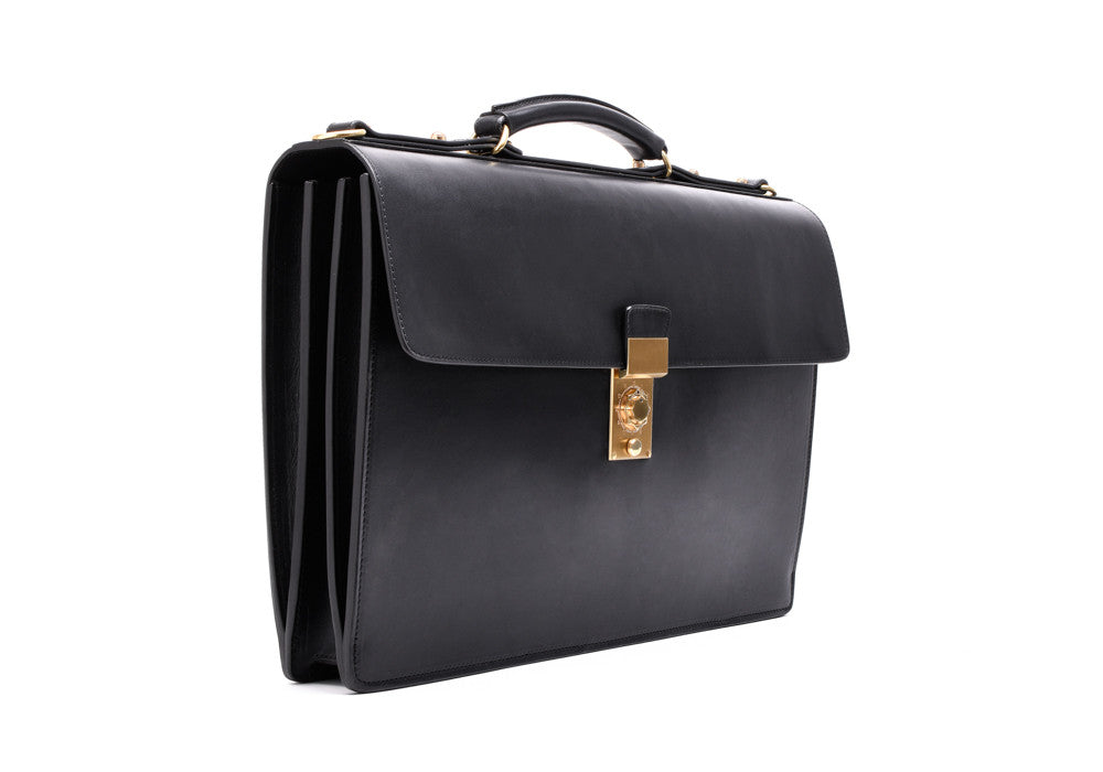 Front Side View of Bridle Compass Lock Briefcase Black Bridle
