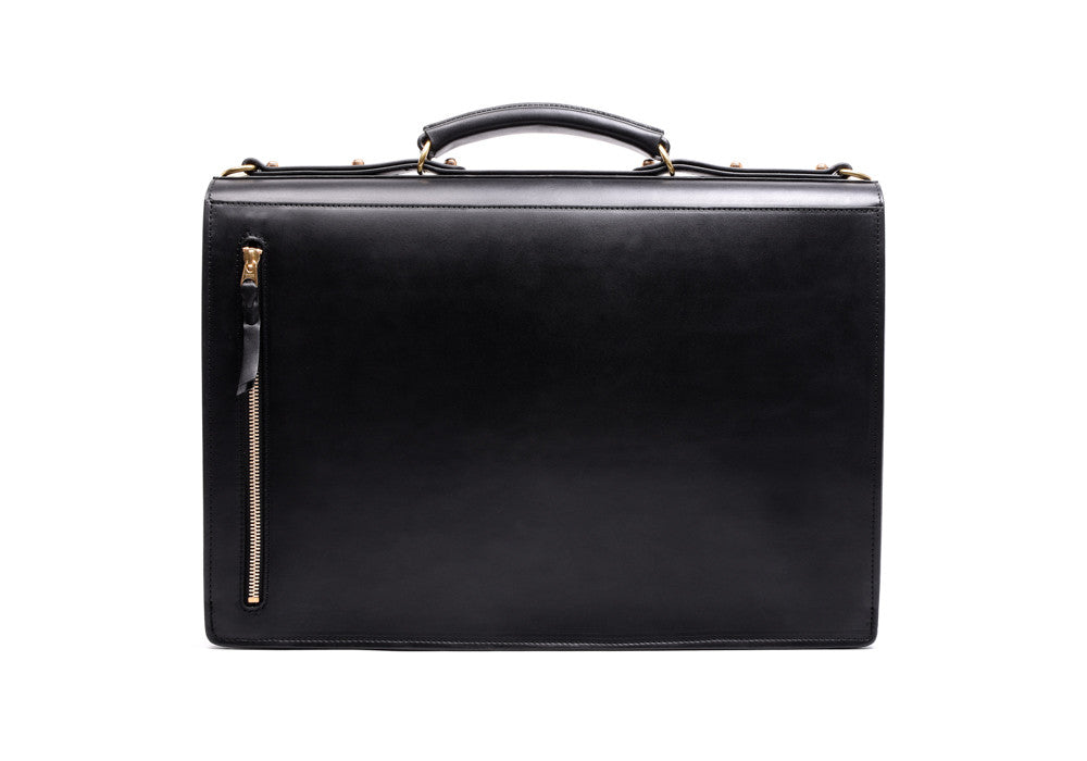Back View of Bridle Compass Lock Briefcase Black Bridle