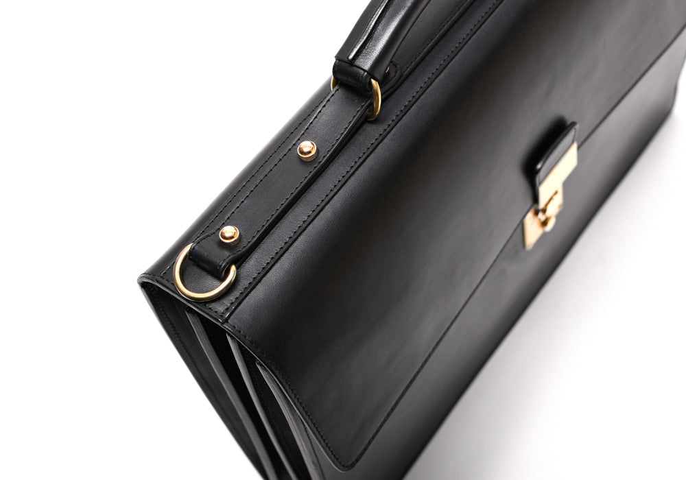 Top Leather View of Bridle Compass Lock Briefcase Black Bridle