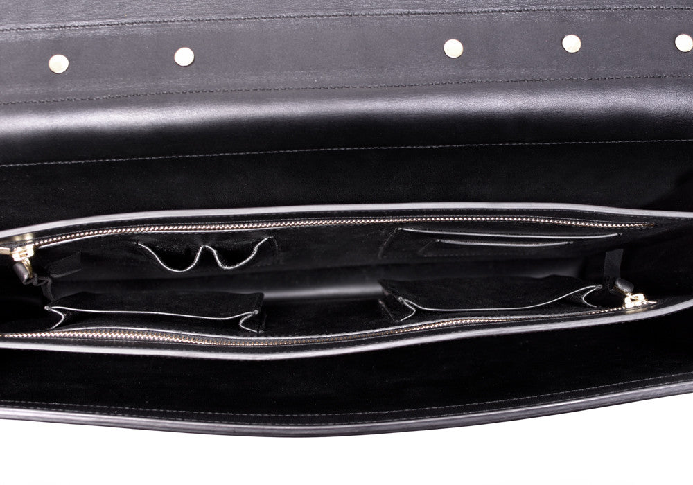Inner Leather View of Bridle Compass Lock Briefcase Black Bridle