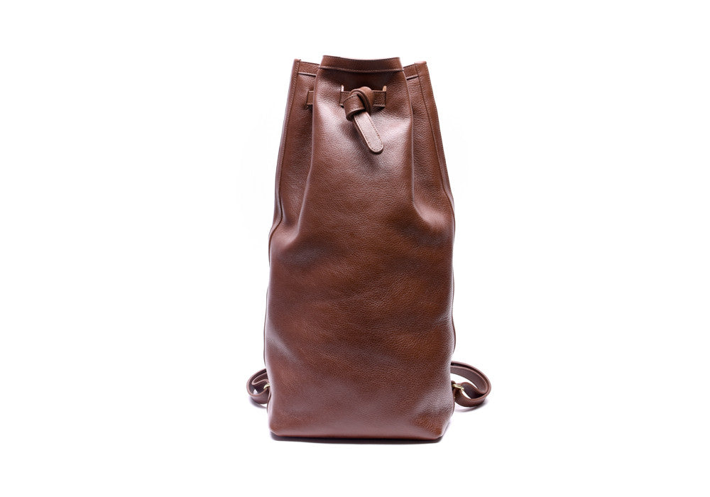 Front View of Leather Duffle Backpack Chestnut