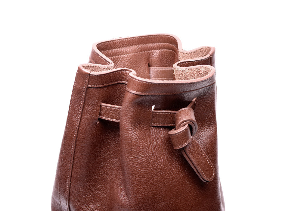top Leather View of Leather Duffle Backpack Chestnut