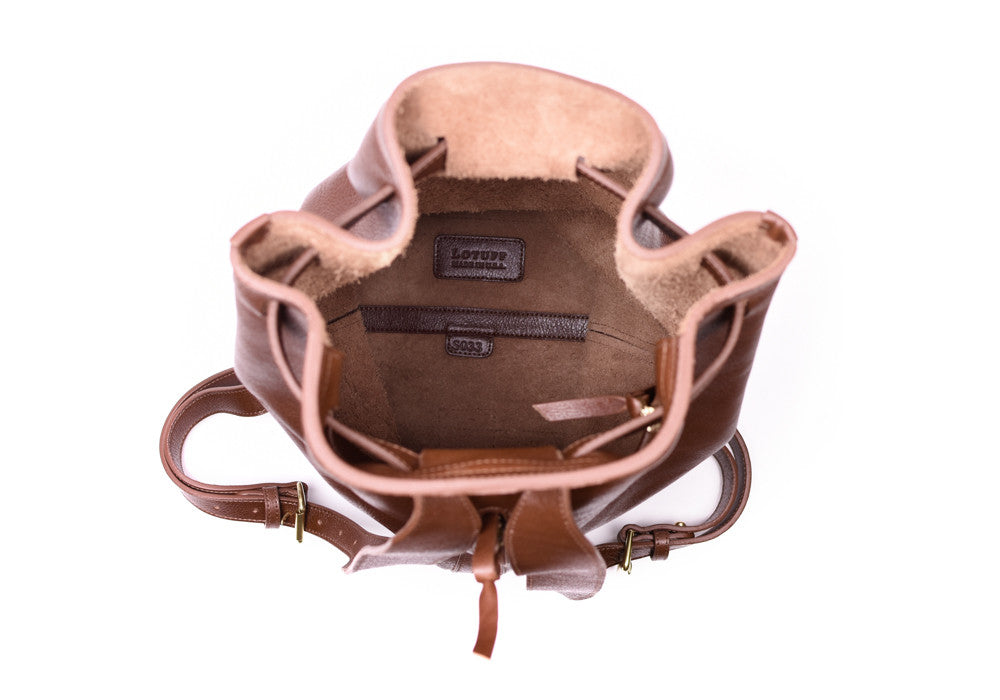 Inner Leather View of Leather Duffle Backpack Chestnut