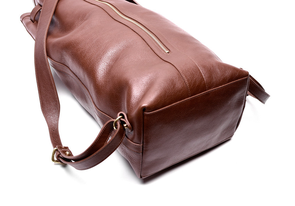 Full Leather Bag View of Leather Duffle Backpack Chestnut