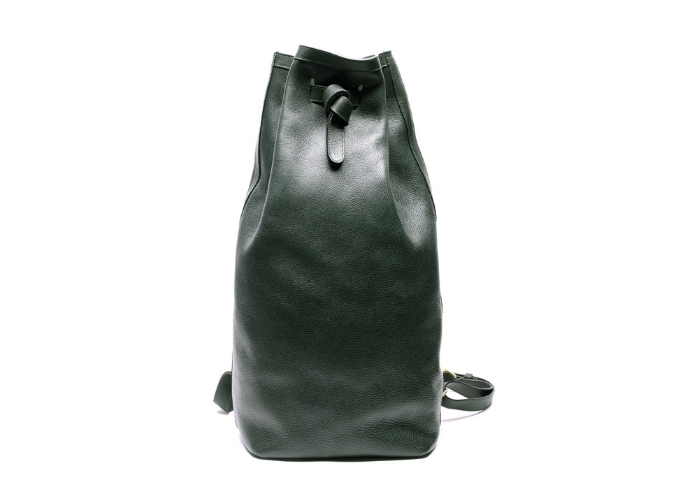 Leather Duffle Backpack Green|Front View