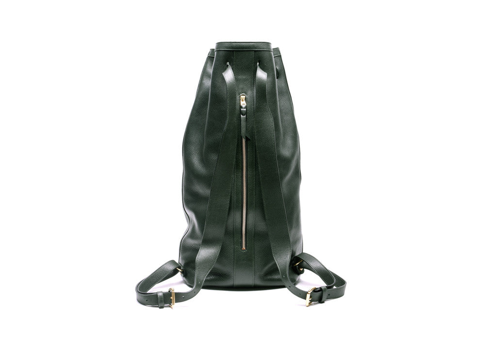 Back View of Leather Duffle Backpack Green