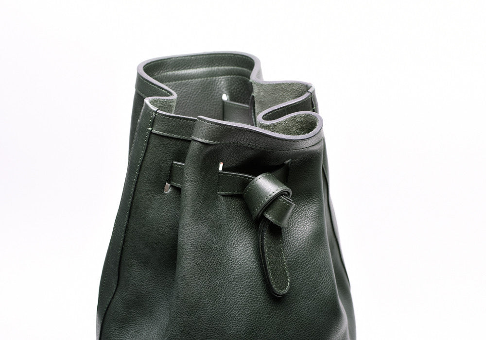 Top Leather view of Leather Duffle Backpack Green