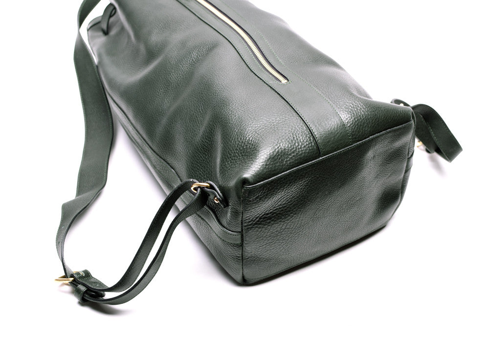 Full Leather View of Leather Duffle Backpack Green