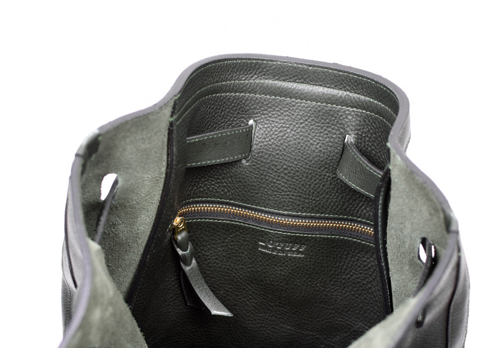 Inner Leather View of Leather Duffle Backpack Green
