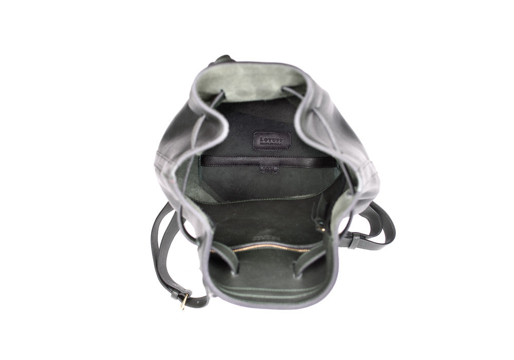 Top Open Leather of Leather Duffle Backpack Green