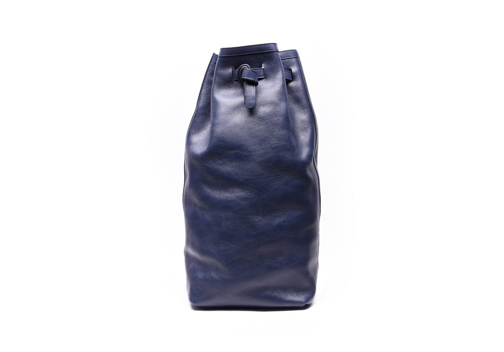 Front View of Leather Duffle Backpack Indigo