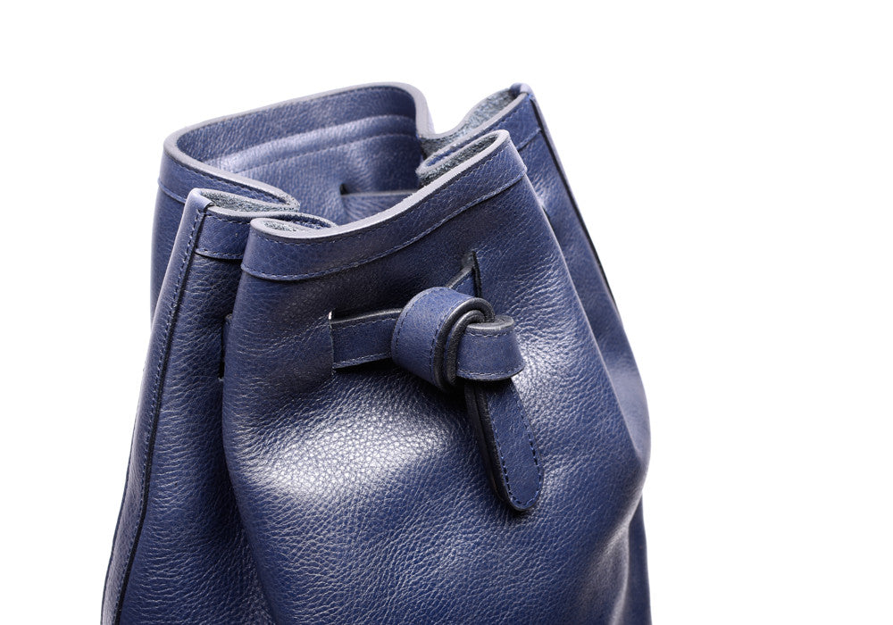 Top Leather View of Leather Duffle Backpack Indigo