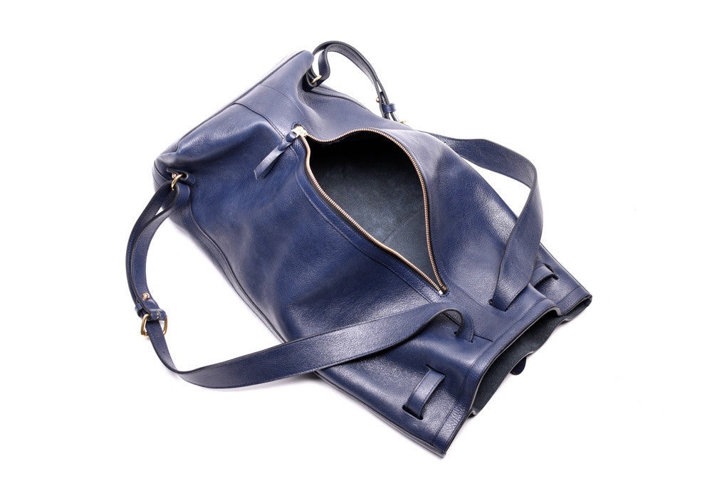 Open Leather View of Leather Duffle Backpack Indigo