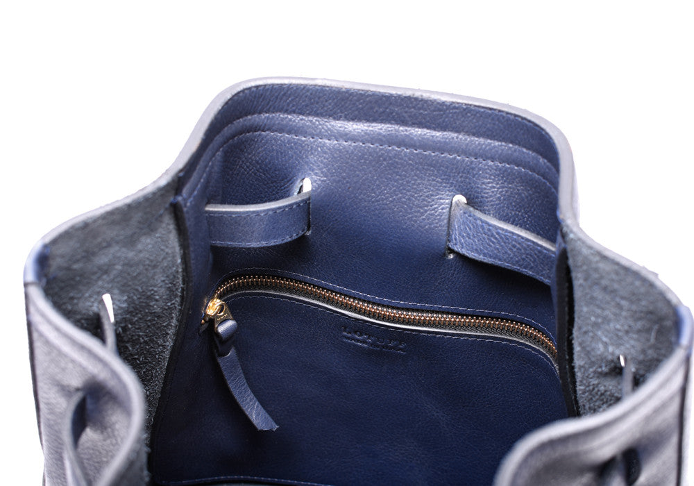 Inner Leather Pocket of Leather Duffle Backpack Indigo