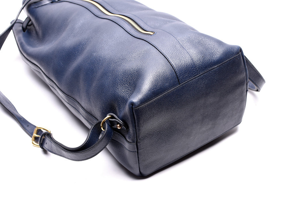 Full Leather Bag View of Leather Duffle Backpack Indigo