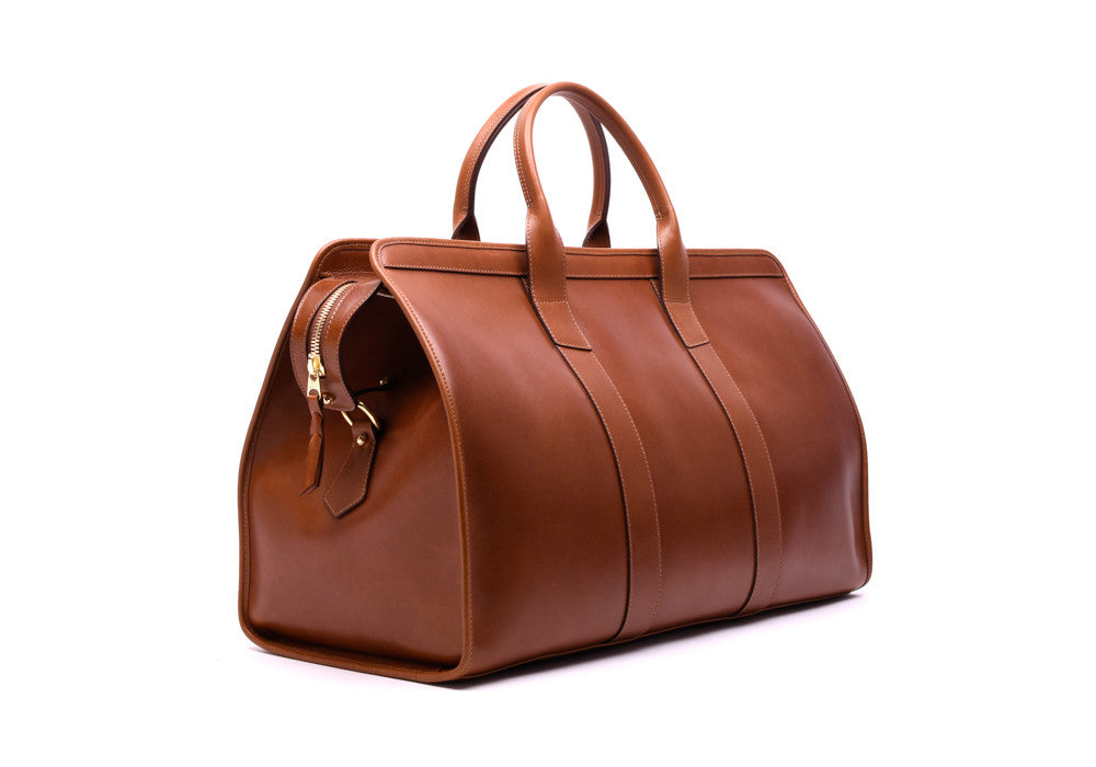 Side Leather View of Bridle Duffle Travel Bag Cognac Bridle