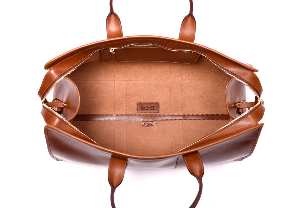 Inner Leather View of Bridle Duffle Travel Bag Cognac Bridle