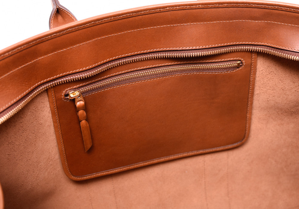 Inner Leather Pocket of Bridle Duffle Travel Bag Cognac Bridle