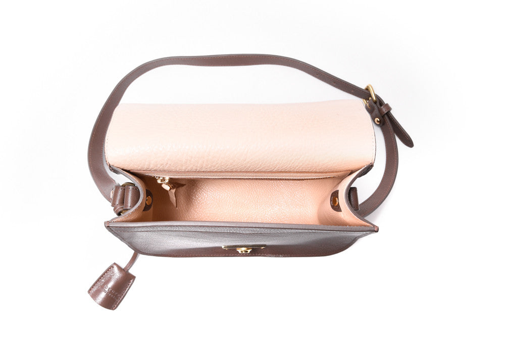 Top Open View of Arc Shoulder Bag Clay-Natural