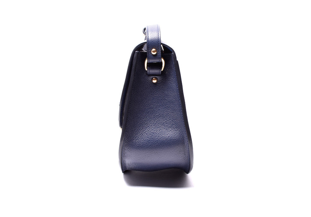 Side View of Arc Shoulder Bag Indigo-Electric Blue